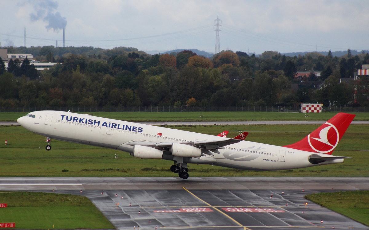Turkish Airlines, TC-JII, MSN 331, Airbus A 340-313X,08.10.2017, DUS-EDDL, Düsseldorf, Germany (Name: Mersin)