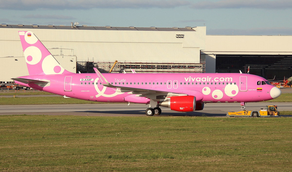 Vivaair Colombia, D-AXAF, Reg.HK-5273,MSN 8519,Airbus A 320-214SL, 19.10.2018, XFW-EDHI, Hamburg Finkenwerder, Germany (Cancer Awareness livery)