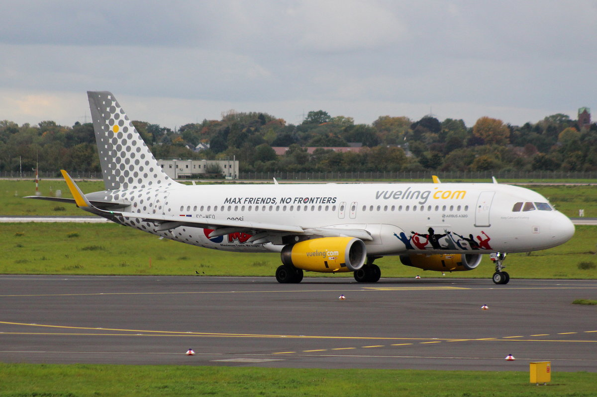 Vueling, EC-MEQ, MSN 6483, Airbus A 320-232(SL), 08.10.2017, DUS-EDDL, Düsseldorf, Germany (Named: Keep calm And Vueling & Pepsi Max livery)