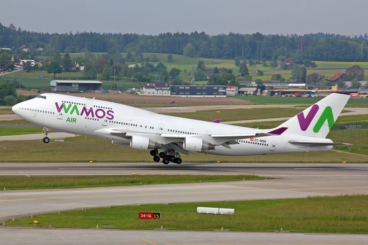 Wamos Air (for SunExpress), EC-MQK, Boeing 747-4H6, msn: 28427/1147, 25.Mai 2019, ZRH Zürich, Switzerland.