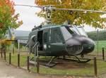 Leichter Transporthubschrauber Bell-UH 1D (D-HAQI), ehemals eingesetzt vom Bundesgrenzschutz (BGS). Aufgenommen im Grenzmuseum Bad Sooden-Allendorf, 13.Oktober 2016.
