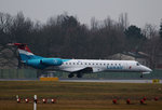 Luxair ERJ-145LU LX-LGX kurz vor dem Start in Berlin-Tegel am 05.02.2016