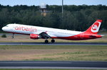D-ABCC Air Berlin Airbus A321-211  in Tegel beim Start am 07.07.2016