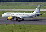 A 320-214, EC-MAX Vueling Airlines, taxy back to the RWY in DUS, 01.10.2015