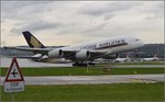 Start des A380 (9V-SKL) der Singapore Airlines in Kloten.